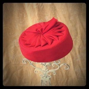 Gorgeous Vintage Red Grosgrain Pillbox Hat